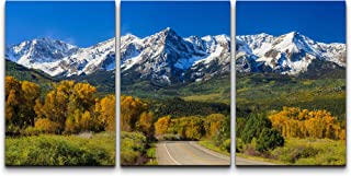 wall26 - 3 Piece Canvas Wall Art - Countryside Road, Fall Season in Colorado - Modern Home Art Stretched and Framed Ready ...