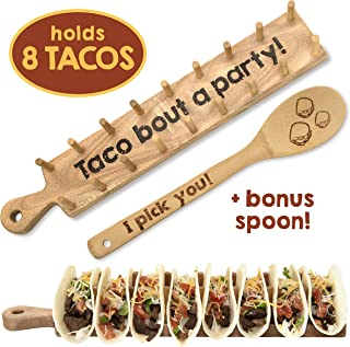 Trendy Together Wooden Taco Holder – Wooden Taco Tray Stand Up Rack Holds 8 Soft or Hard Shell Tacos – Great for Tortillas, Burritos, Home, Parties & Restaurants