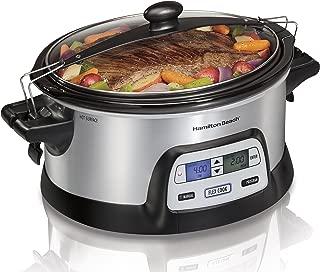 Hamilton Beach 33861 Programmable Slow Cooker, 6 Quart, Dual Digital Timer, Stainless Steel