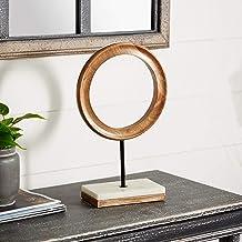 منحوتة دائرية من الخشب والرخام من Deco 79 94518 ، 35.56 سم × 22.86 سم، بني/أسود/أبيض