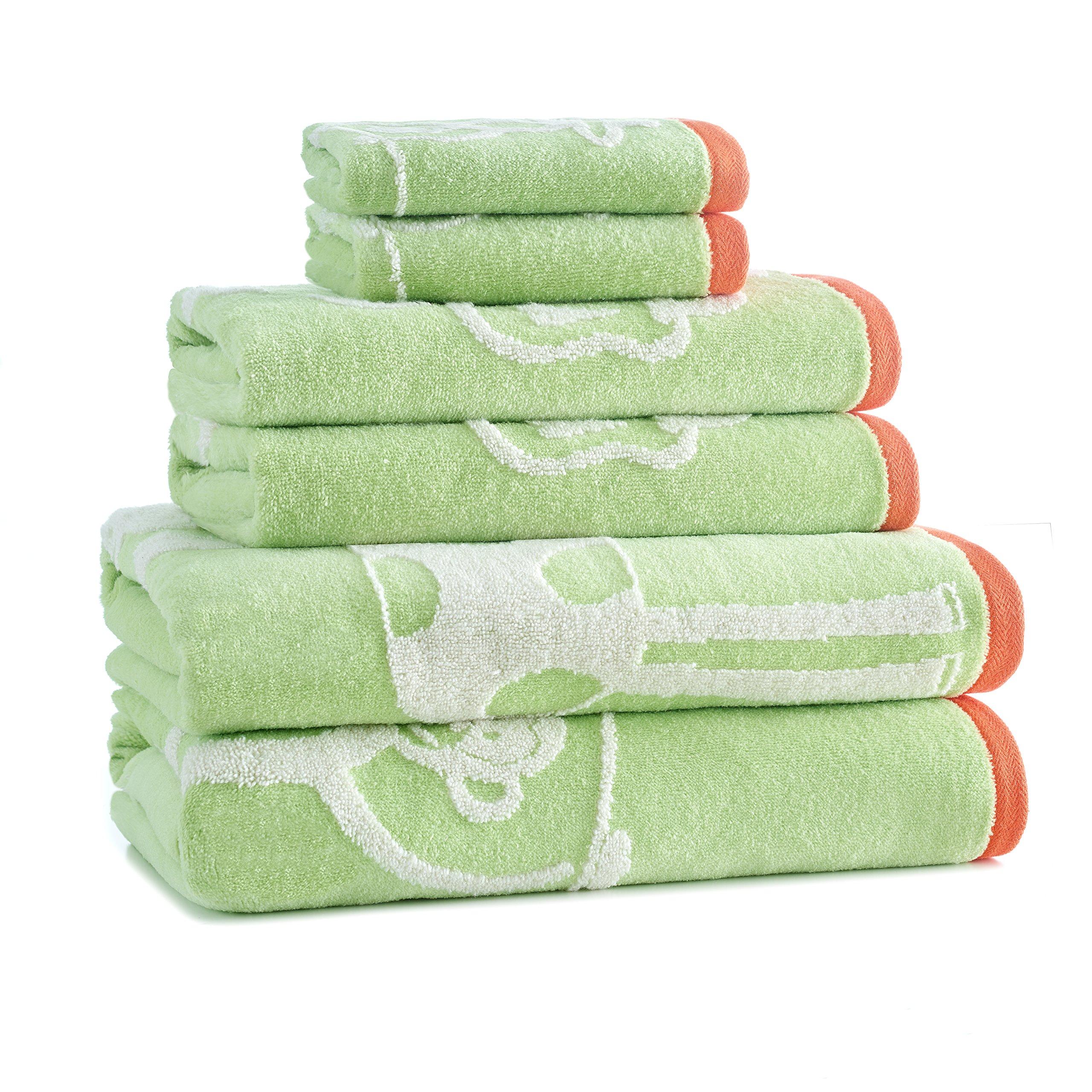 One Size Green Orange Kassatex Jungle Bath Accessories Tumbler White