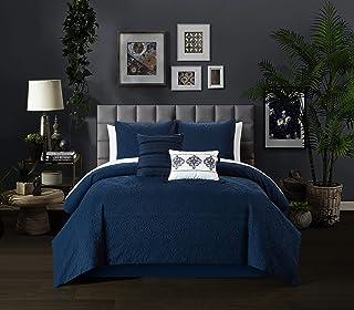 Chic Home Mayflower 5 Piece Comforter Set Embossed Medallion Scroll Pattern Design Bedding - Decorative Pillows Shams Incl...