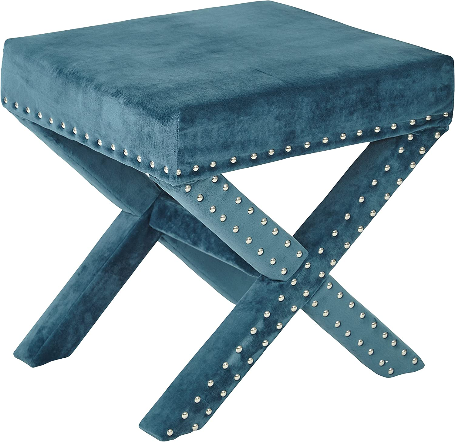 OSP Accents SB313AS-MV14 Katie Upholstered X-Style Bench with Nailhead Accents, Azure Micro Velvet