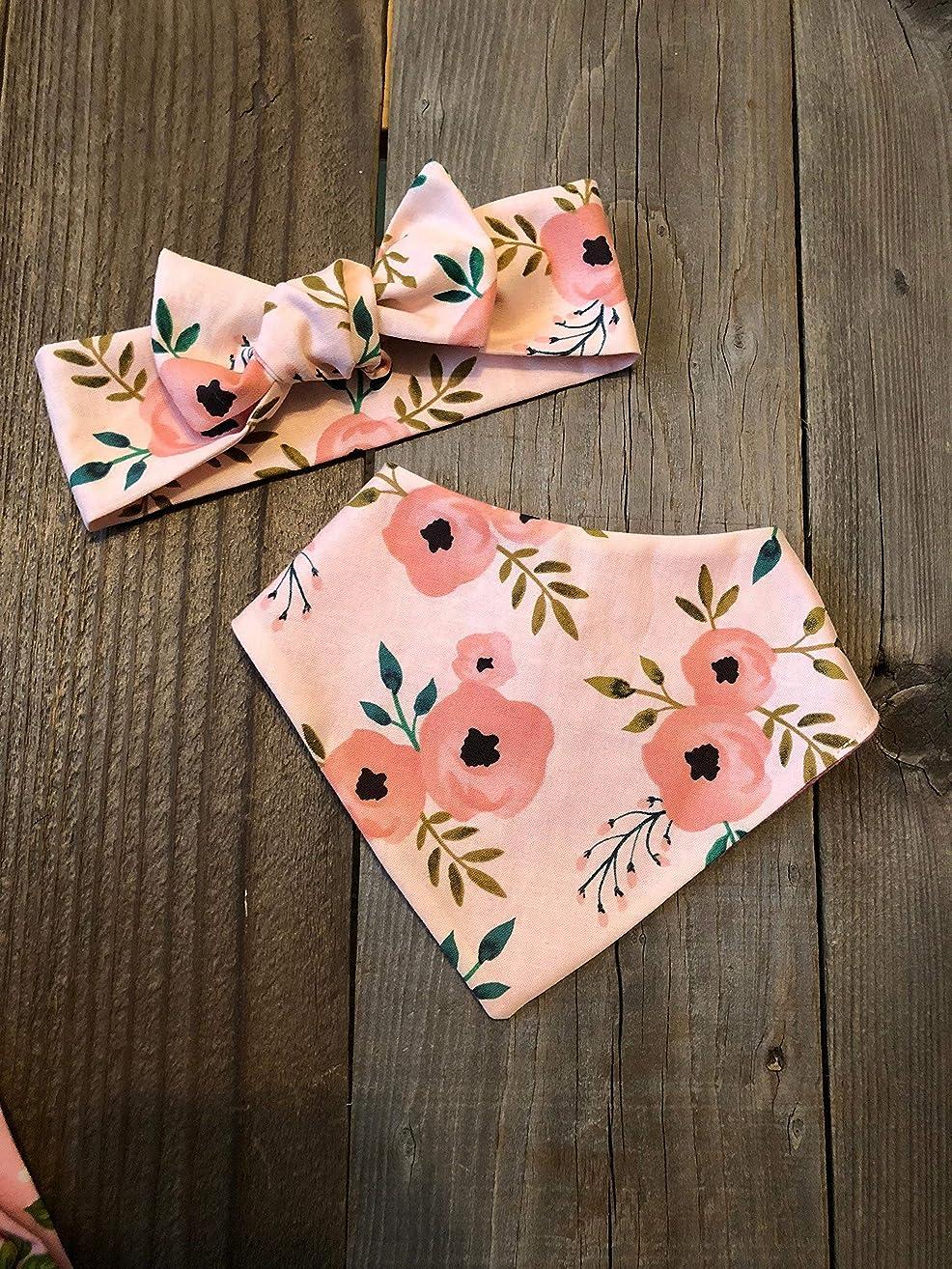 Pink floral bandana bib