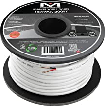 Mediabridge 16AWG 2-Conductor Speaker Wire (200 Feet, White) - 99.9% Oxygen Free Copper – UL Listed CL2 Rated for in-Wall Use (Part# SW-16X2-200-WH)