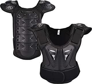 OHMOTOR Kid Body Armor Armour Jacket Children Chest Back Spine Protector Vest(Black, S)