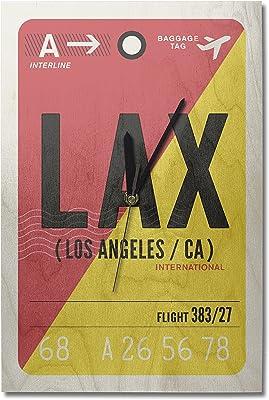 Lantern Press Los Angeles, California - LAX - Luggage Tag (10x15 Wood Wall Clock