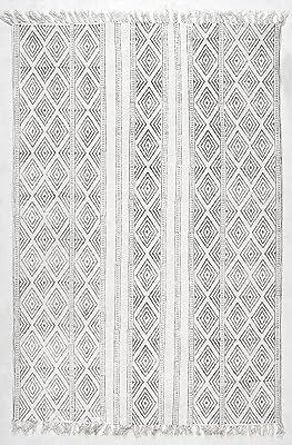 Handmade Flat Weave Striped Trellis Cotton Fringe Area Rug
