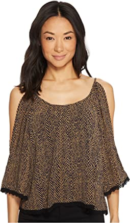 Roper - 1379 Black And Gold Zigzag 3/4 Sleeve Top
