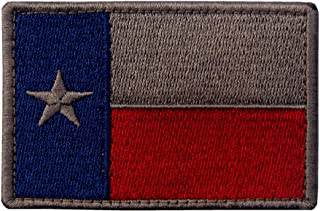 EmbTao Texas Embroidered Tactical Fastener Hook&Loop Patch - Blue & Red