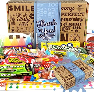 Vintage Candy Co. THANK YOU GIFT BASKET CANDY BOX For Men Or Women | SAY THANKS With A Unique Assortment of Nostalgic Decade Candy PERFECT Gratitude Gift for Women Men Girls Boys Coworkers Teens Etc.