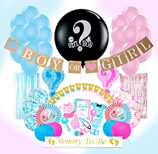 Embrasé Creations Unique Designs Party Kit - Set of 111 Gender Reveal Kit for Baby Boy Baby Girl | Gender Reveal Party Supplies or Baby Shower Decorations for Girls or Boys | Boy or Girl New Unique and Adorable Designs