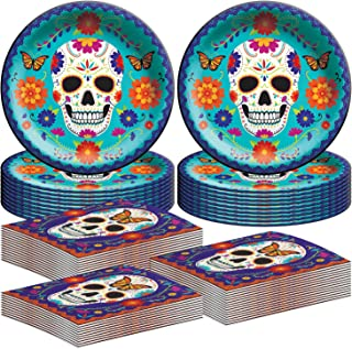 """Amscan Day of The Dead Dinnerware Party Bundle 
