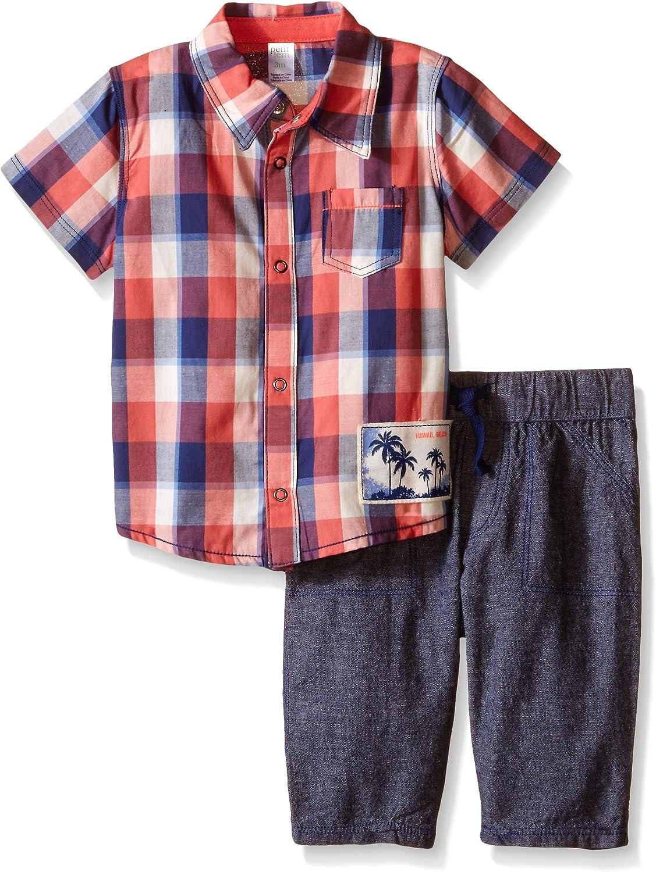 Petit Lem Baby Boys' 2 Piece Set Short Sleeve Shirt and Pant-Blue/Red Plaid