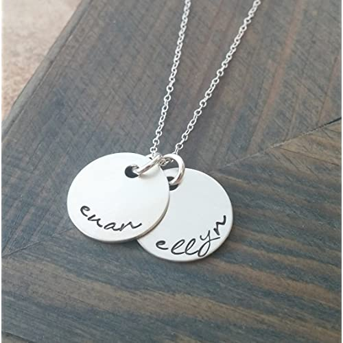 b1b58e47b Hand Stamped Jewelry // Personalized Necklace // Necklace with Kids Names  // Sterling