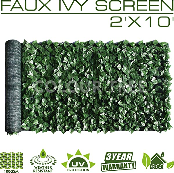 ColourTree 2 X 10 Artificial Hedges Faux Ivy Leaves Fence Privacy Screen Cover Panels Decorative Trellis Mesh Backing 3 Years Full Warranty