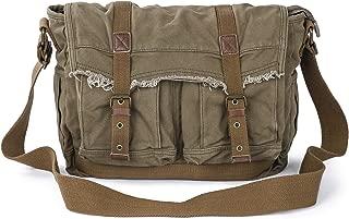 Canvas Messenger Bag - Vintage Shoulder Bag Frayed Style Satchel, Army Green