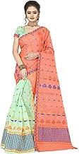 S Kiran's Women's Art Cotton Saree With Unstitched Blouse Piece, Unstitched Mekhela & Chador (Nuni3002TomatoPgreen_Multicolored)