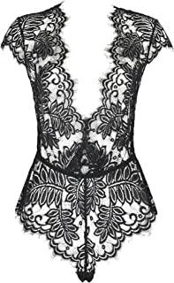 Women's Lingerie Floral Lace Bodysuit Deep V Babydoll