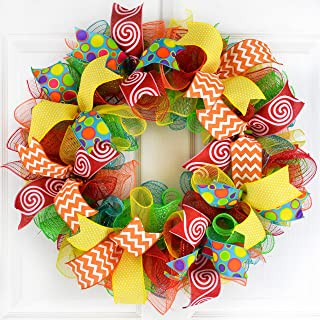 Summer Wreath | Teacher Gift Present | Classroom Decor | Birthday Party Mesh Front Door | Red Yellow