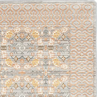 Safavieh Valencia Collection VAL210F Light Grey and Multi Vintage Distressed Silky Polyester Area Rug (5' x 8')
