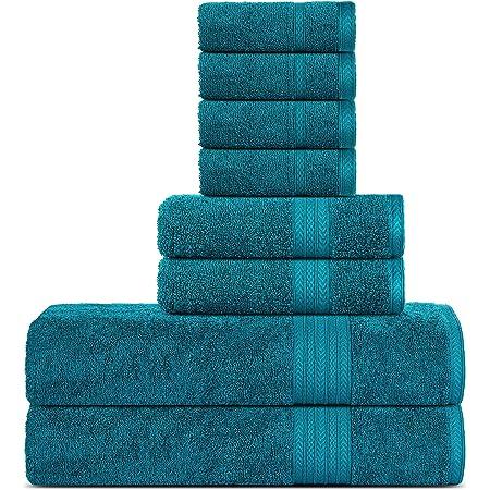 Sweet Needle Supremo Premium 500 gsm - Juego de Toallas de 8 Piezas, Verde Azulado, 100% algodón, Lavado a máquina, Doble Costura, Dobladillo Fuerte y Altamente Absorbente para baño, (Paquete de 8)