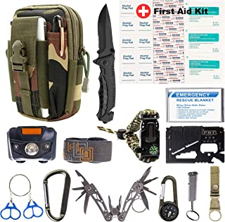 Survival Emergency Kit – Survival Gear for Outdoor, Hiking and Camping – SOS Survival Kit with Emergency Blanket, Headlight, Military Knife, Compass, Wire Saw, Saber Card