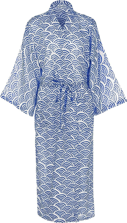 Cotton Kimono Robe Women's 100% Light Organic HandPrinted Yukata Bathrobe