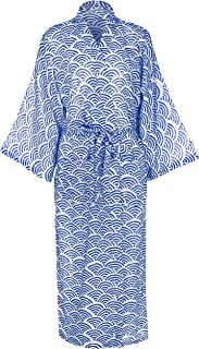 Susannah Cotton Kimono Robe Yukata Dressing Gown - Light Hand-Printed Bathrobe for Women Bridesmaid Bridal Wrap Bath Robe