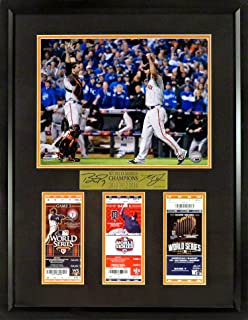 """SF Giants Buster Posey & Madison Bumgarner """"World Series Champions"""" 11x14 Photo w/Tickets (SGA Signature Series) Framed"""