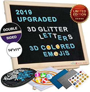 2019 Upgraded Felt Letter Board Set 11x14' Double Sided Black Purple 3D Glitter Characters Colored Emojis Kids Dartboard Game Wooden Frame Wood Stand Changeable Message Letterboard Signs Words Quotes