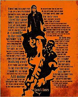 "Guns N` Roses-""November Rain""-Song Lyric Art Poster -11 x 14"" Rock Music Wall Print w/Slash Silhouette-Ready to Frame. Vin..."