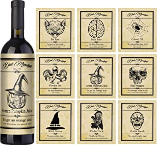 Wine Bottle Labels Set of 9 – Vintage Halloween Decorations and Potion Labels – Spooky Day of The Dead Stickers for Poison Bottle and Halloween Potion Bottles Labels Gifts