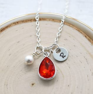 July Birthstone Necklace for Women - Personalized Initial & Pearl - July Birthday Gifts - Ruby Birthstone Jewelry
