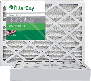 FilterBuy 16x25x4 MERV 8 Pleated AC Furnace Air Filter, (Pack of 2 Filters), 16x25x4 – Silver