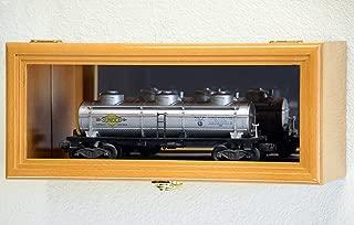 Single O Scale Train Engine Locomotive Cab Tanker Model Car Display Case Cabinet Holder Rack w/98% UV- Lockable with Mirror Back (Oak Finish)