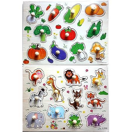 YouBinYa 子供 知育玩具 木製 パズル 動物 野菜 2点セット 赤ちゃん キッズ おもちゃ (動物 & 野菜)