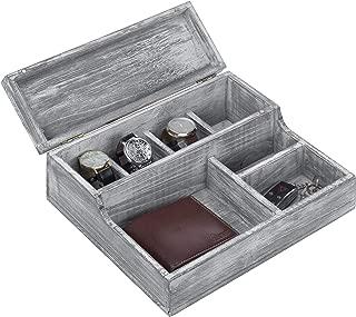 MyGift Vintage Graywash Wood Watch & Jewelry Organizer Box / 7-Compartment Catchall Tray, Home Decor Essential