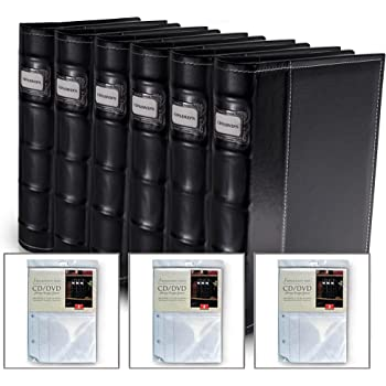 Bellagio-Italia Black Leather Disc Storage Binder Perfect for CDs, DVDs, Blu-Rays, and Video Games. 6 Pack Includes 24 Additional Insert Sheets - Set Holds 384 Discs Total.