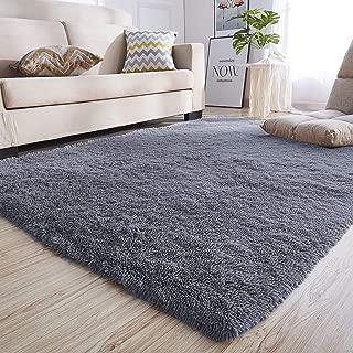Junovo Rectangle Ultra Soft Area Rugs Fluffy Carpets for Bedroom Living Room Shaggy Floor Rug Home Decor Mats, 4 x 5.3ft, Grey