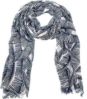 GIULIA BIONDI 100% Made in Italy Sciarpa Stampata Stola Scialle Foulard Leggera Morbida Elegante Fantasia Blu Donna Uomo