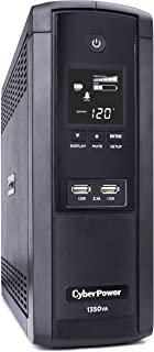 CyberPower BRG1350AVRLCD Intelligent LCD UPS System, 1350VA/810W, 12 Outlets, AVR, Mini-Tower, 5-Year Warranty