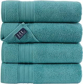 Hammam Linen Ultra Soft Turkish Bath Towels - (27 x 54 inches) - 4 Pieces Towel Set - 100% Cotton Towels (Green Water)