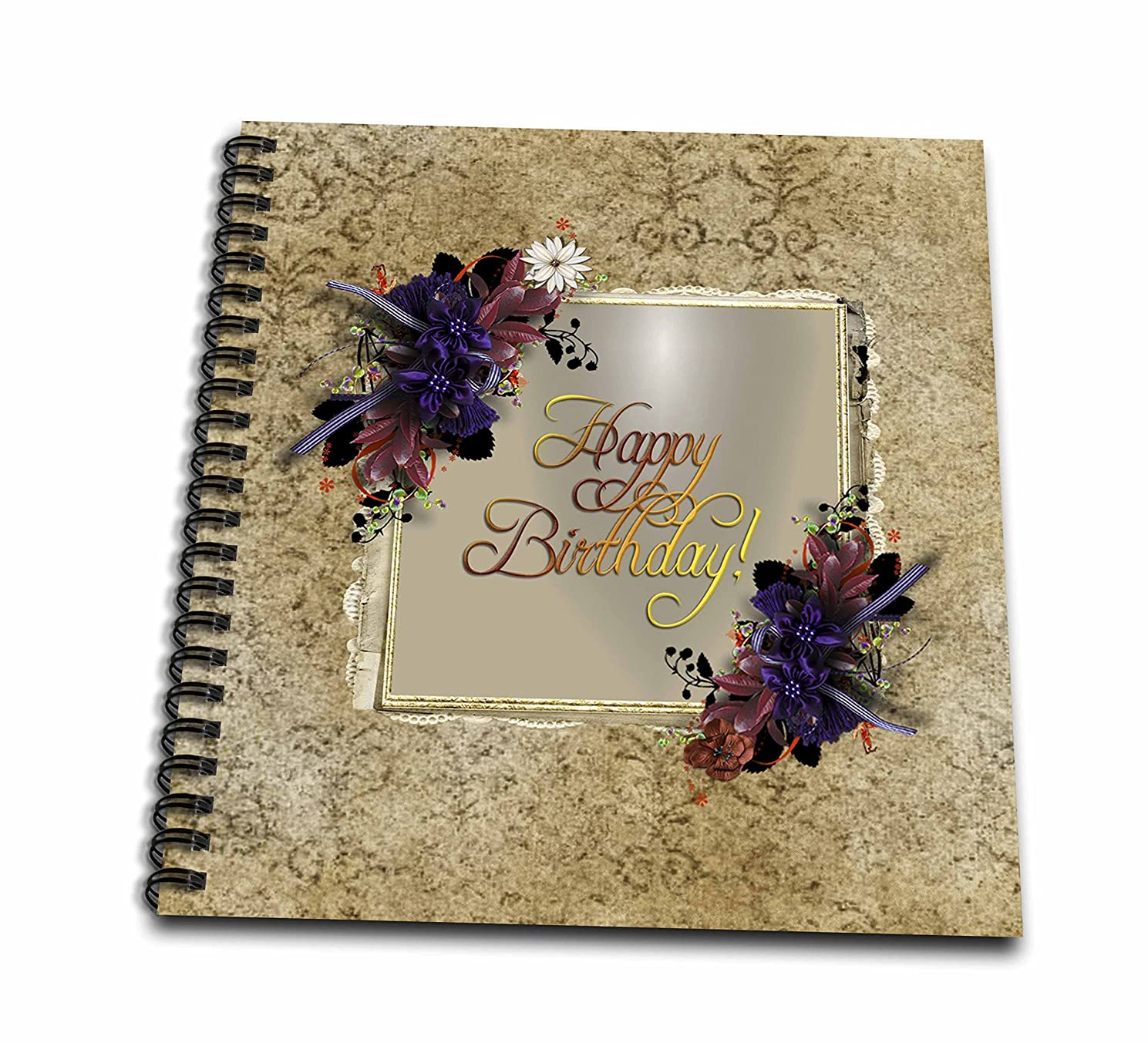 3D Rose Purple Flowers on Gold Frame with Damask Design Drawing Book