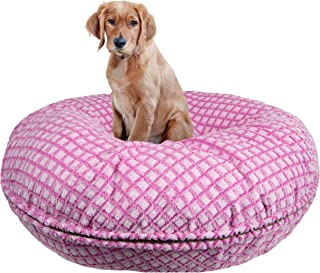 product image for BESSIE AND BARNIE Signature Pink It Fence Luxury Extra Plush Faux Fur Bagel Pet/Dog Bed (Multiple Sizes)