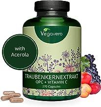 VEGAVERO® Traubenkernextrakt 1200 mg & OPC 720 mg pro Tagesdosis | PREMIUM-Qualität Vegan | 270 Kapseln | NATÜRLICHES VITAMIN C (ACEROLA) | Französische Trauben | Laborgeprüft | Ohne Zusatzstoffe
