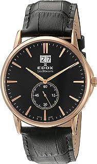 EDOX - Reloj Analógico para Unisex de Cuarzo con Correa en Cuero 64012 37R NIR