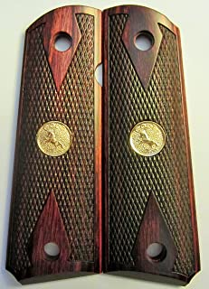 Colt 1911 Grips Checkered Rosewood Double Diamond With Colt Gold Medallions 77def316a3a61