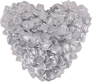 1000 Pcs Silk Artificial Rose Petals Wedding Party Decorations, Silver