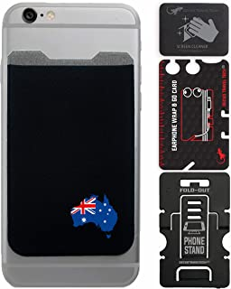 Phone Wallet - Adhesive Card Holder - Cell Phone Pouch - Stick on Lycra Pocket by Gecko - Carry Credit Cards and Cash (Australia)